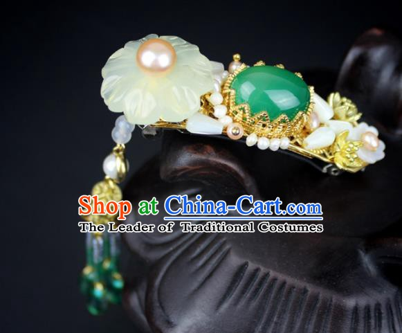 Chinese Ancient Handmade Hair Accessories Classical Hairpins Hanfu Tassel Hair Claw for Women