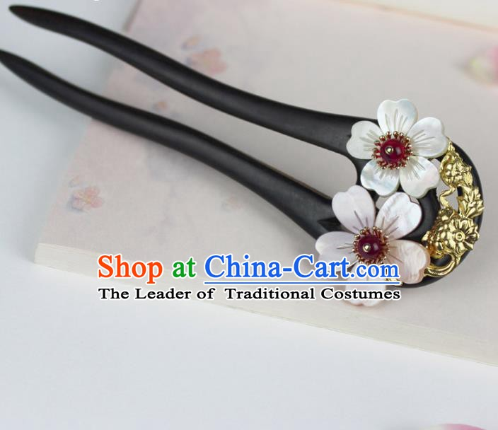 Chinese Ancient Handmade Hair Accessories Classical Ebony Hairpins Hanfu Hair Clips for Women