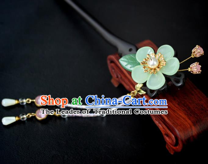 Chinese Ancient Handmade Hair Accessories Classical Ebony Hairpins Hanfu Green Flowers Hair Clips for Women