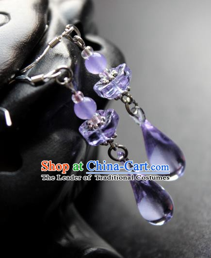 Chinese Ancient Handmade Accessories Earrings Purple Crystal Eardrop for Women