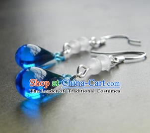 Chinese Ancient Handmade Accessories Blue Crystal Tassel Earrings for Women