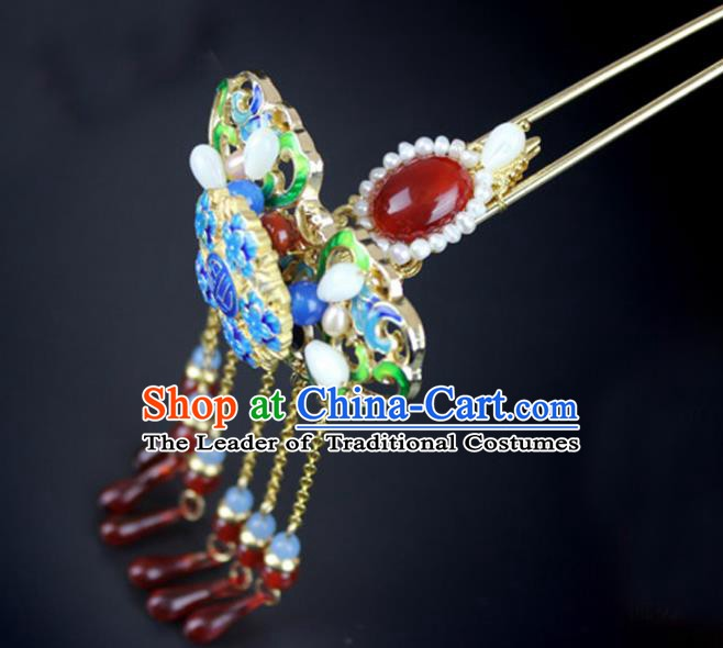 Chinese Ancient Handmade Hair Accessories Wedding Tassel Hair Clip Classical Hanfu Blueing Hairpins for Women
