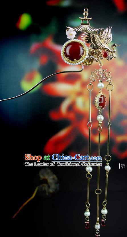 Chinese Ancient Handmade Hair Accessories Hairpins Classical Crane Tassel Step Shake Hanfu Hair Clip for Women