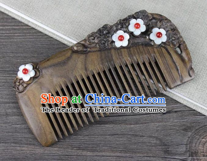 Chinese Ancient Handmade Hair Accessories Hairpins Classical Hanfu Sandalwood Hair Combs for Women