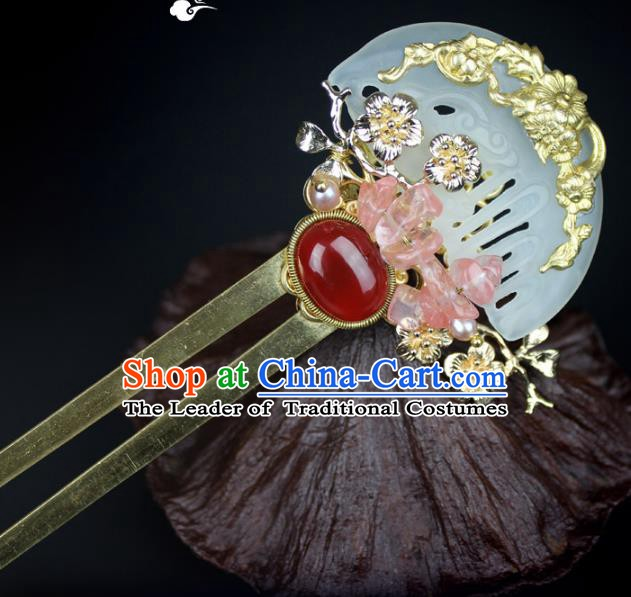 Chinese Ancient Handmade Hair Accessories Jade Hair Clip Classical Hanfu Hairpins for Women