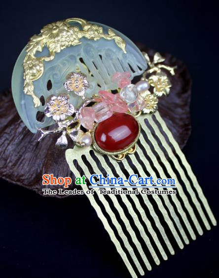 Chinese Ancient Handmade Hair Accessories Jade Hair Comb Classical Hanfu Hairpins for Women
