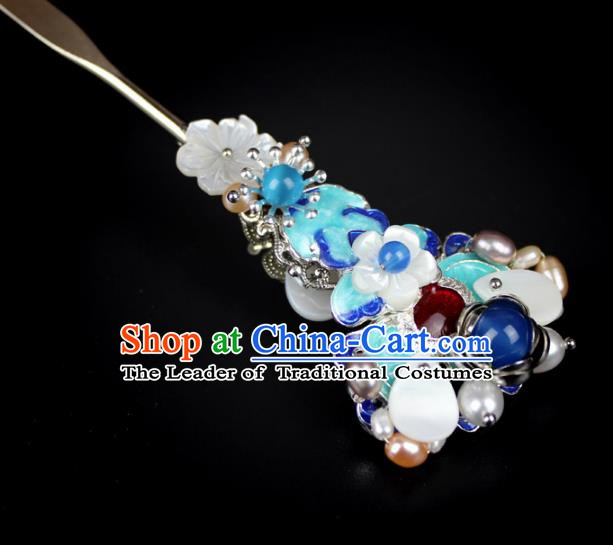 Chinese Ancient Handmade Hair Accessories Blueing Hair Clip Classical Hanfu Hairpins for Women