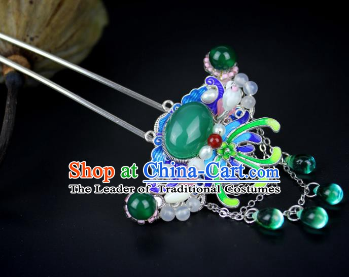 Chinese Ancient Handmade Hair Accessories Blueing Tassel Hair Clip Classical Hanfu Hairpins for Women