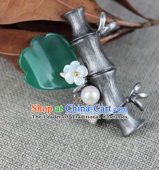 Chinese Ancient Handmade Accessories Bamboo Brooch for Women