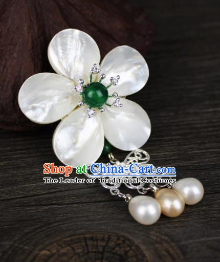 Chinese Ancient Handmade Accessories Pearls Tassel Brooch for Women