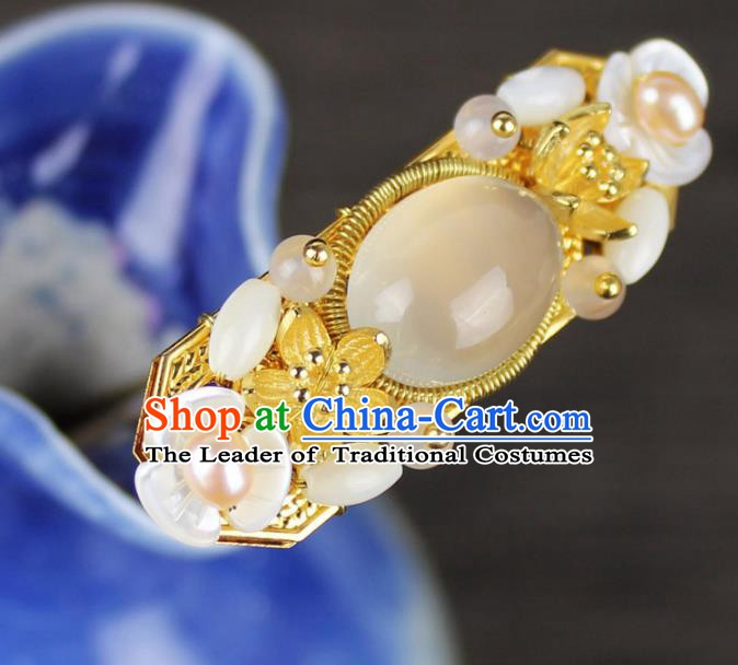 Chinese Ancient Handmade Hair Accessories Chalcedony Hair Clip Classical Hanfu Agate Hairpins for Women