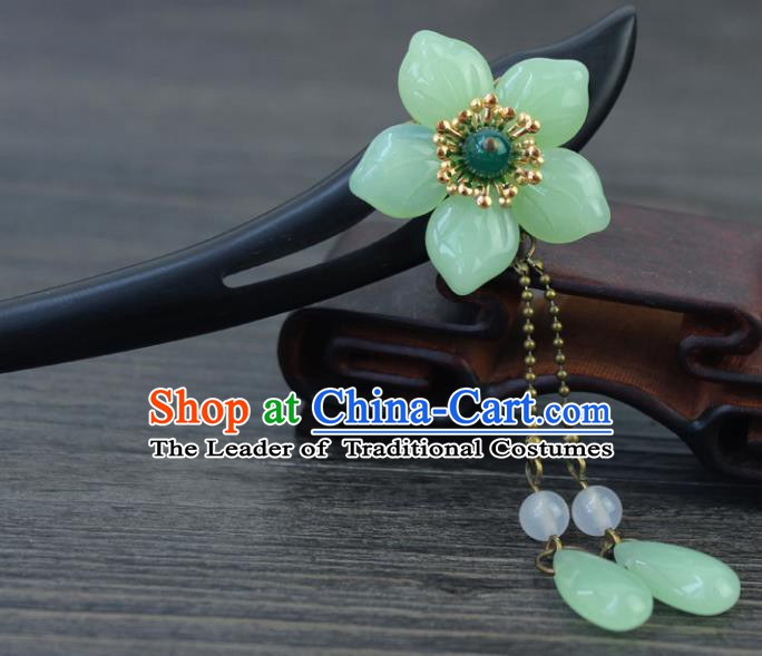 Chinese Ancient Handmade Hair Accessories Green Flower Hair Clip Classical Hanfu Ebony Hairpins for Women