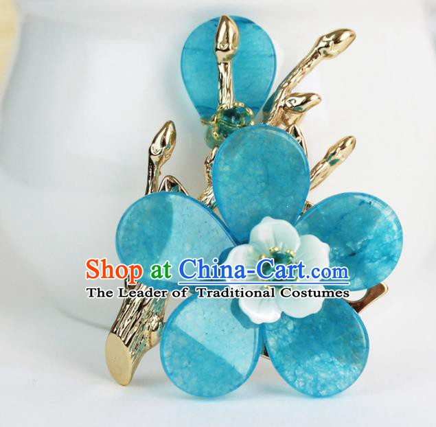 Chinese Ancient Handmade Accessories Breastpin Blue Flowers Brooch for Women