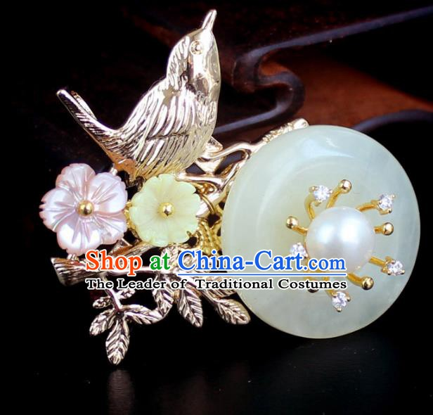 Chinese Ancient Handmade Accessories Breastpin Flowers Jade Brooch for Women