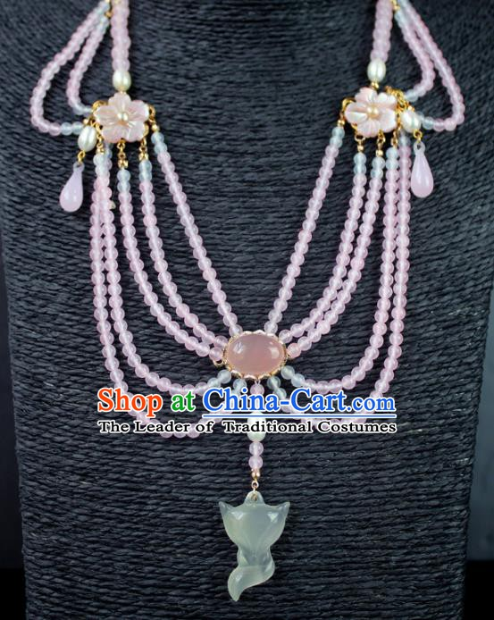 Chinese Ancient Handmade Accessories Jade Fox Necklace Beads Tassel Necklet for Women