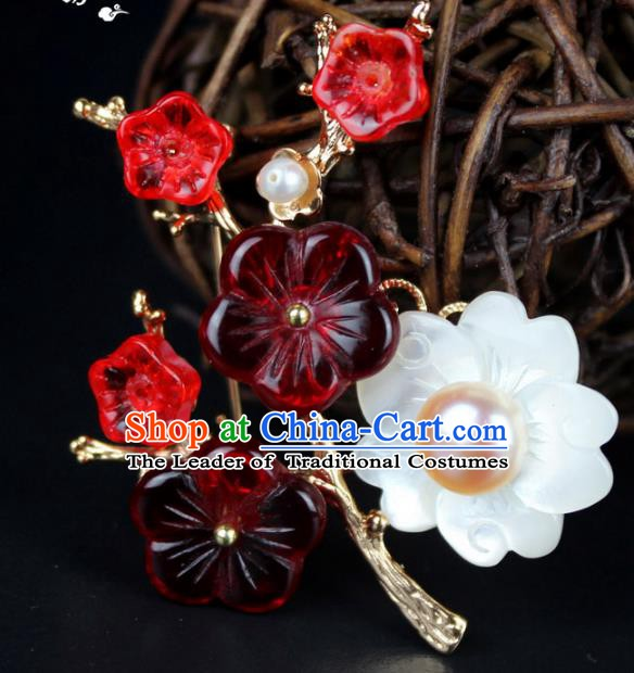 Chinese Ancient Handmade Accessories Red Plum Blossom Pearls Brooch for Women