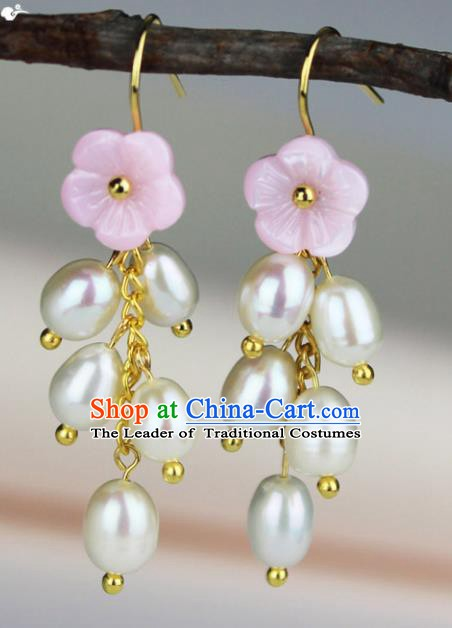 Chinese Ancient Handmade Accessories Pearls Tassel Earrings for Women