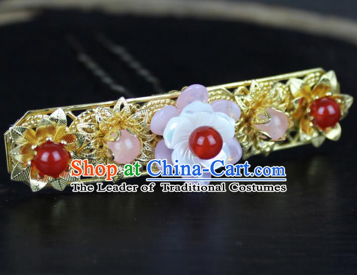 Chinese Ancient Handmade Hair Accessories Hair Stick Classical Hanfu Golden Hairpins for Women