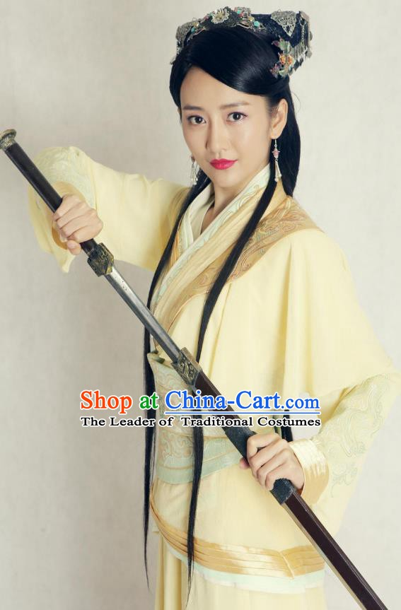 Chinese Ancient Wei and Jin Dynasties Swordswoman Hanfu Dress Replica Costume for Women