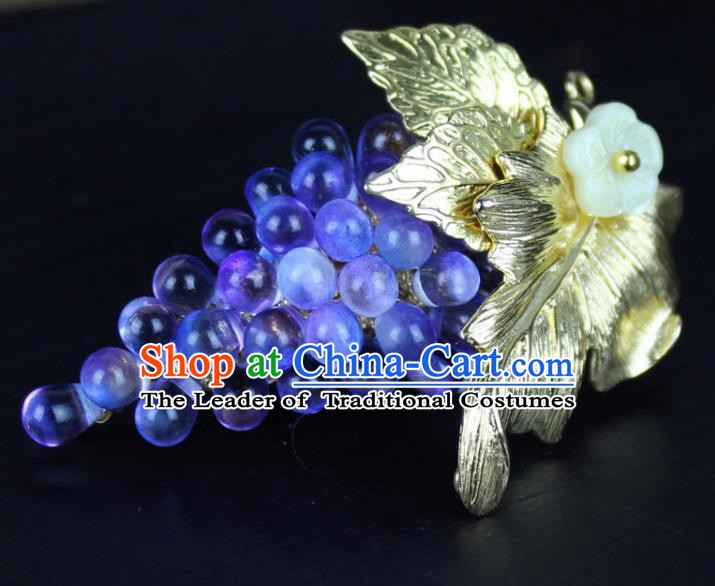 Chinese Ancient Handmade Accessories Crystal Grape Brooch for Women
