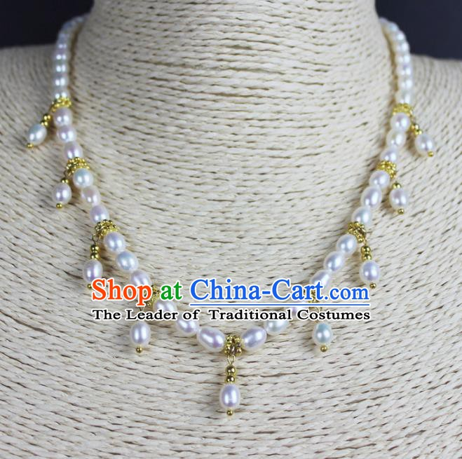 Chinese Ancient Handmade Accessories Necklace Pearls Necklet for Women