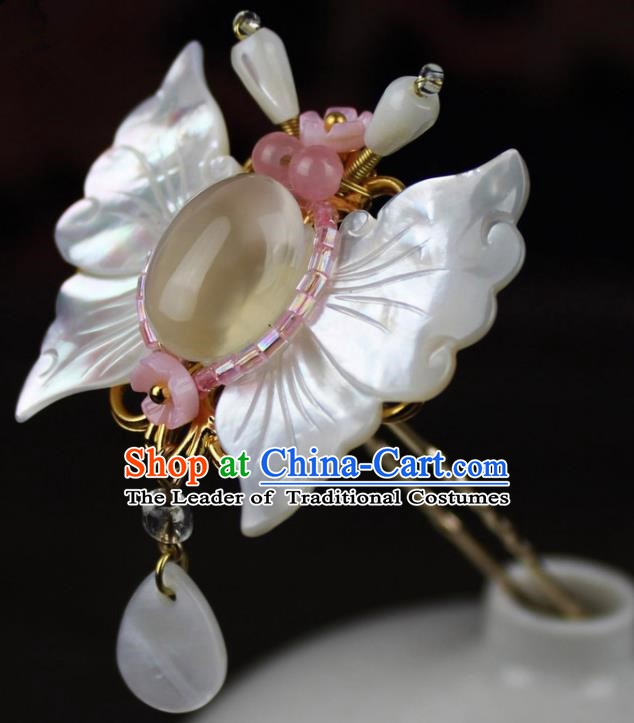 Chinese Ancient Handmade Hair Accessories Shell Butterfly Hair Stick Classical Hanfu Hairpins for Women