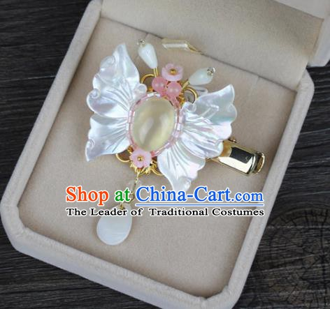 Chinese Ancient Handmade Hair Accessories Shell Butterfly Hair Claw Classical Hanfu Hairpins for Women