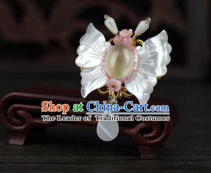 Chinese Ancient Handmade Accessories Shell Butterfly Brooch for Women
