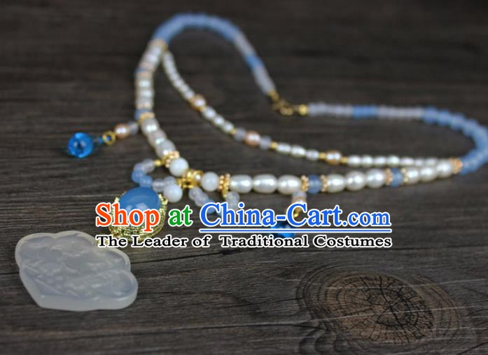 Chinese Ancient Handmade Accessories Pearls Jade Necklace for Women