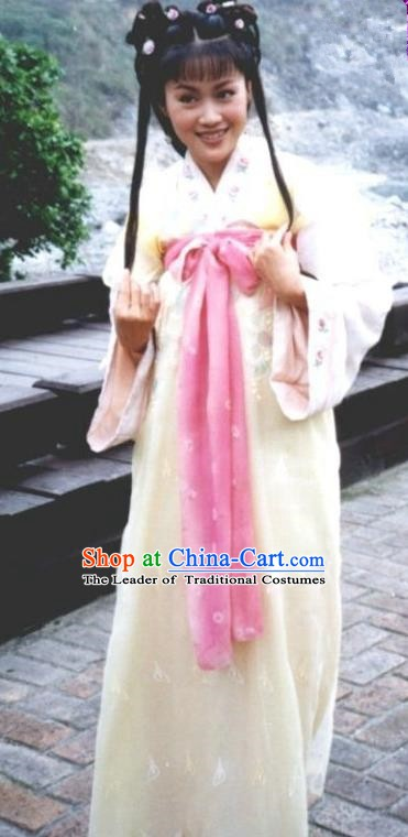 Chinese Ancient Eastern Jin Dynasty Nobility Lady Zhu Yingtai Hanfu Dress Replica Costume for Women