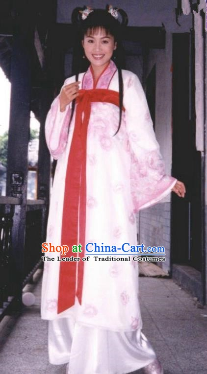 Chinese Ancient Eastern Jin Dynasty Aristocratic Lady Zhu Yingtai Hanfu Dress Replica Costume for Women