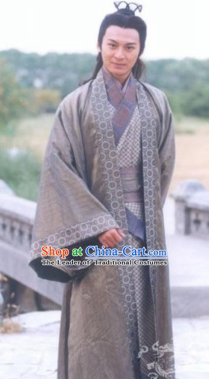 Traditional Chinese Han Dynasty Military Officer General Li Ling Replica Costume for Men