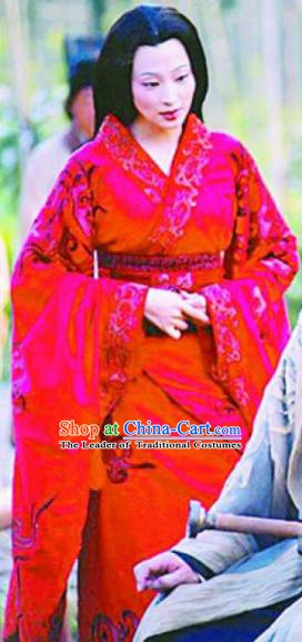 Chinese Ancient Han Dynasty Empress Wei Zifu Hanfu Dress Replica Costume for Women