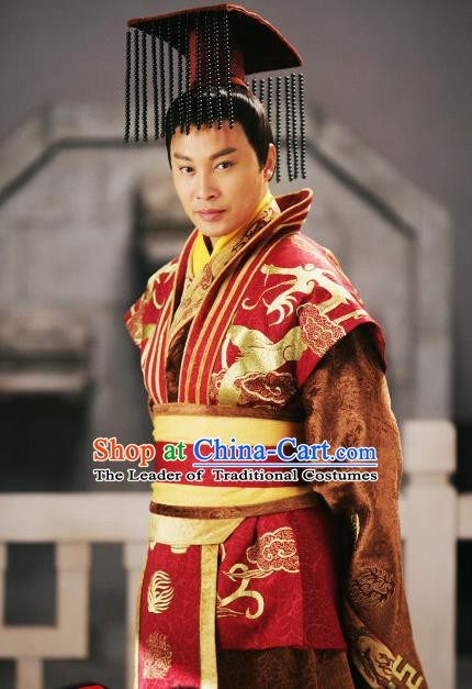 Traditional Chinese Ancient Warring States Period Wei Kingdom King Bo Jian Replica Costume for Men