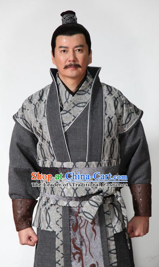 Chinese Ancient Warring States Period Swordsman General Replica Costume for Men