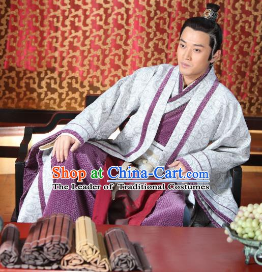 Chinese Ancient Warring States Period Royal Highness Swordsman Replica Costume for Men