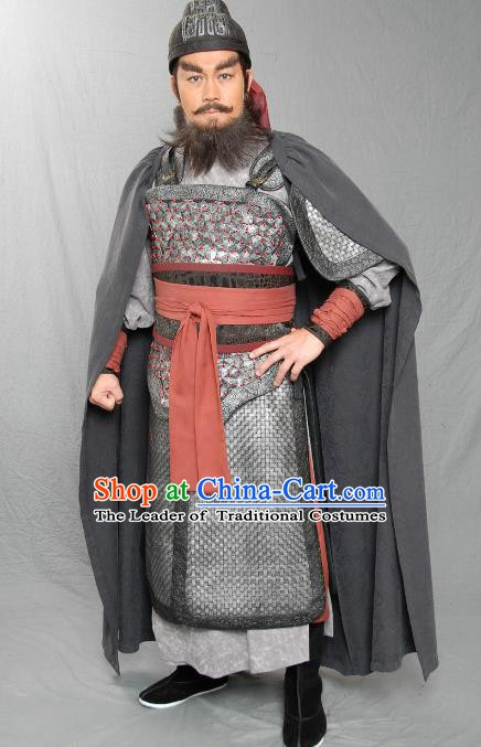 Chinese Ancient Three Kingdoms Period Kingdom Shu General Zhang Fei Helmet and Armour Replica Costume for Men