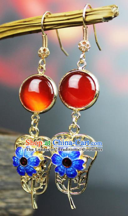 Chinese Ancient Handmade Accessories Agate Earrings Blueing Eardrop for Women