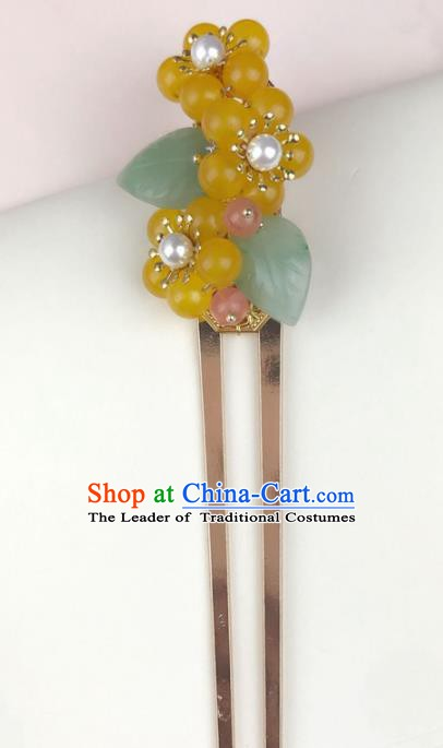 Chinese Ancient Handmade Hair Accessories Yellow Beads Hair Clip Classical Hanfu Hairpins for Women