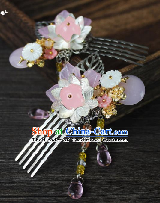 Chinese Ancient Handmade Hair Accessories Tassel Hair Comb Classical Hanfu Hairpins for Women