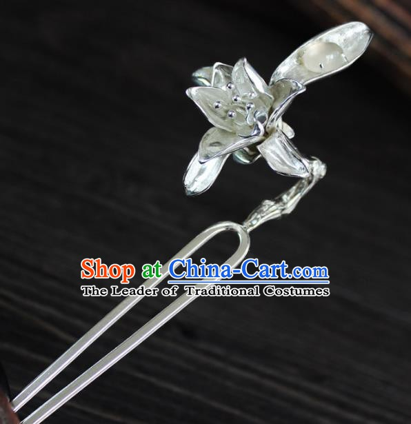 Chinese Ancient Handmade Hair Accessories Mangnolia Hair Clip Classical Hanfu Sliver Hairpins for Women