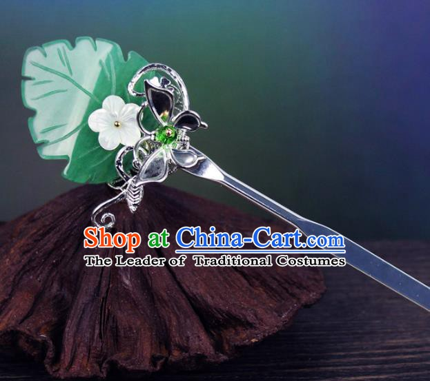 Chinese Ancient Handmade Hair Accessories Green Leaf Hair Clip Classical Hanfu Hairpins for Women