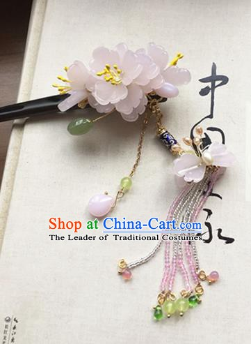Chinese Handmade Ancient Hair Accessories Pink Flowers Step Shake Classical Hanfu Hairpins for Women