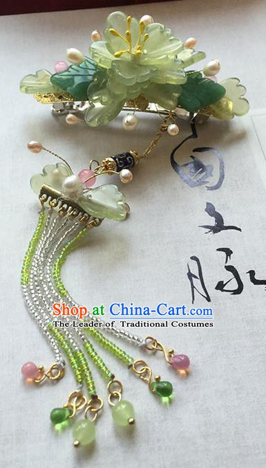 Chinese Handmade Ancient Hair Accessories Green Flowers Hair Stick Classical Hanfu Hairpins for Women
