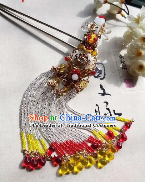 Chinese Handmade Ancient Hair Accessories Tassel Step Shake Classical Hanfu Jade Hairpins for Women