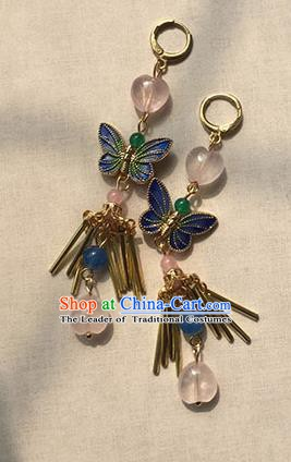 Chinese Ancient Handmade Accessories Tassel Butterfly Earrings for Women