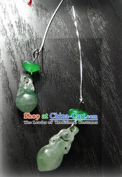 Chinese Ancient Handmade Accessories Tassel Jade Earrings for Women