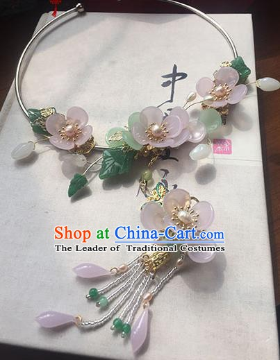 Chinese Ancient Handmade Accessories Hanfu Pink Flowers Necklace for Women