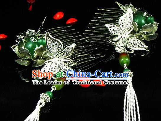 Chinese Handmade Ancient Butterfly Hairpins Hair Accessories Classical Hanfu Tassel Hair Combs for Women