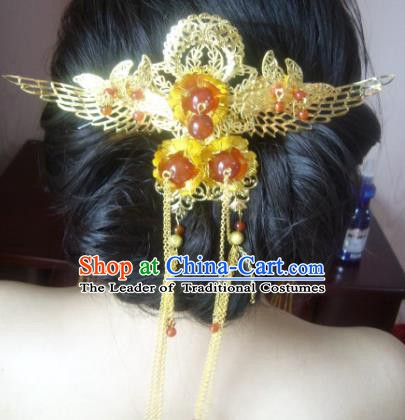 Chinese Handmade Ancient Bride Butterfly Hairpins Hair Accessories Classical Hanfu Phoenix Coronet for Women